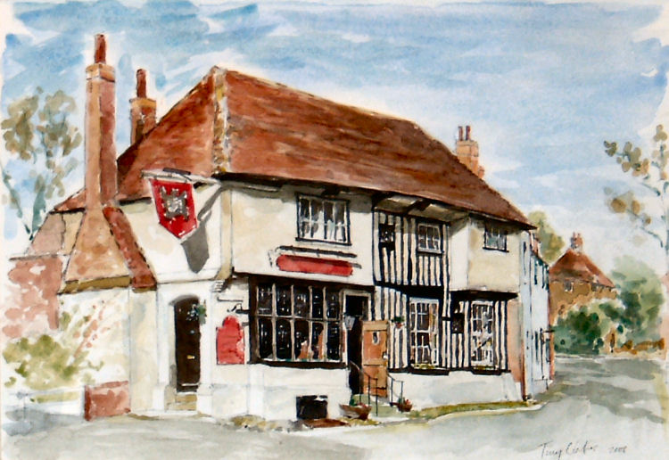 Colour painting of the Chequer Inn Pub in Ash near Canterbury